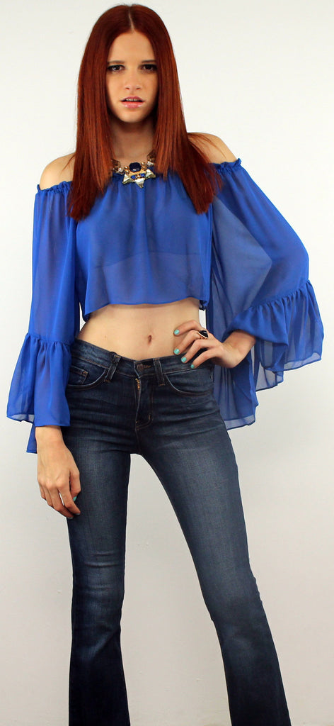 Somedays in Long Flare Sleeves Blue Top