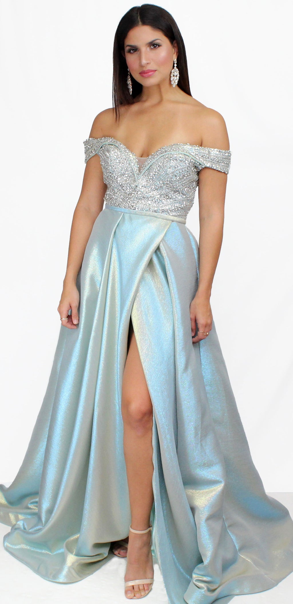 Simply Elegant Off Shoulder Aqua Ball Gown