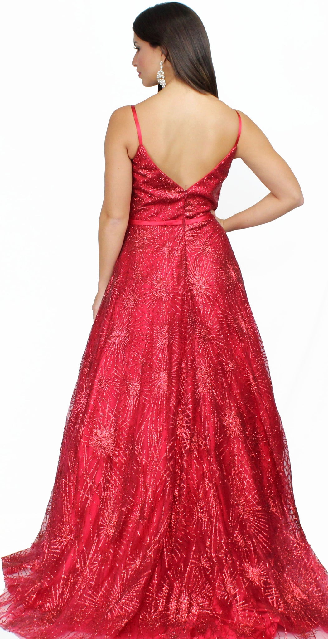 Lavish Lover Red Glitter Ball Gown