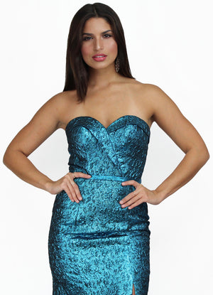 Endless Elegance Metallic Teal Mermaid Gown