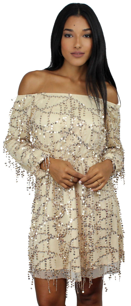 Shine Time Nude & Gold Sequins Dress