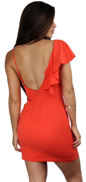 As Good as Orange Ruffle Mini Dress