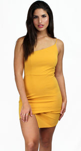 Dream of Me One-Shoulder Mustard Dress