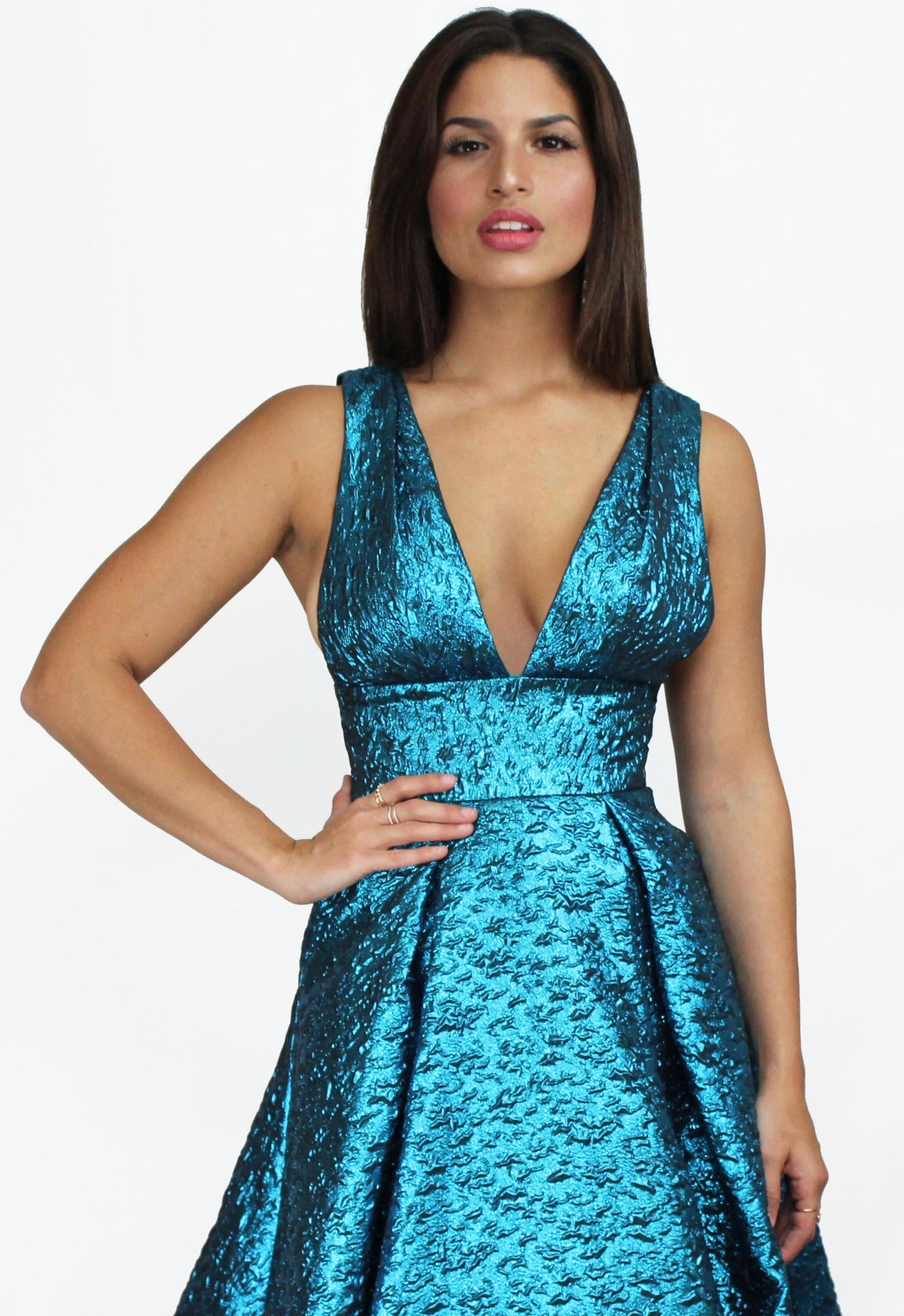 Endless Elegance Metallic Teal Ball Gown