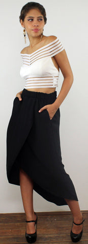 Without Question Black High Low Skirt