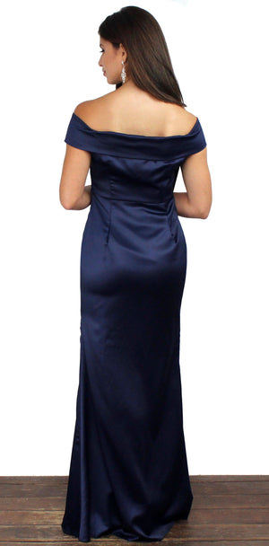 Here's to us Navy Satin Formal Gown