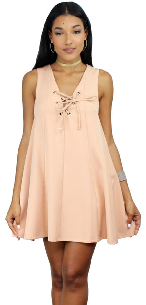 Into the Light Nude Lace Up Shift Dress