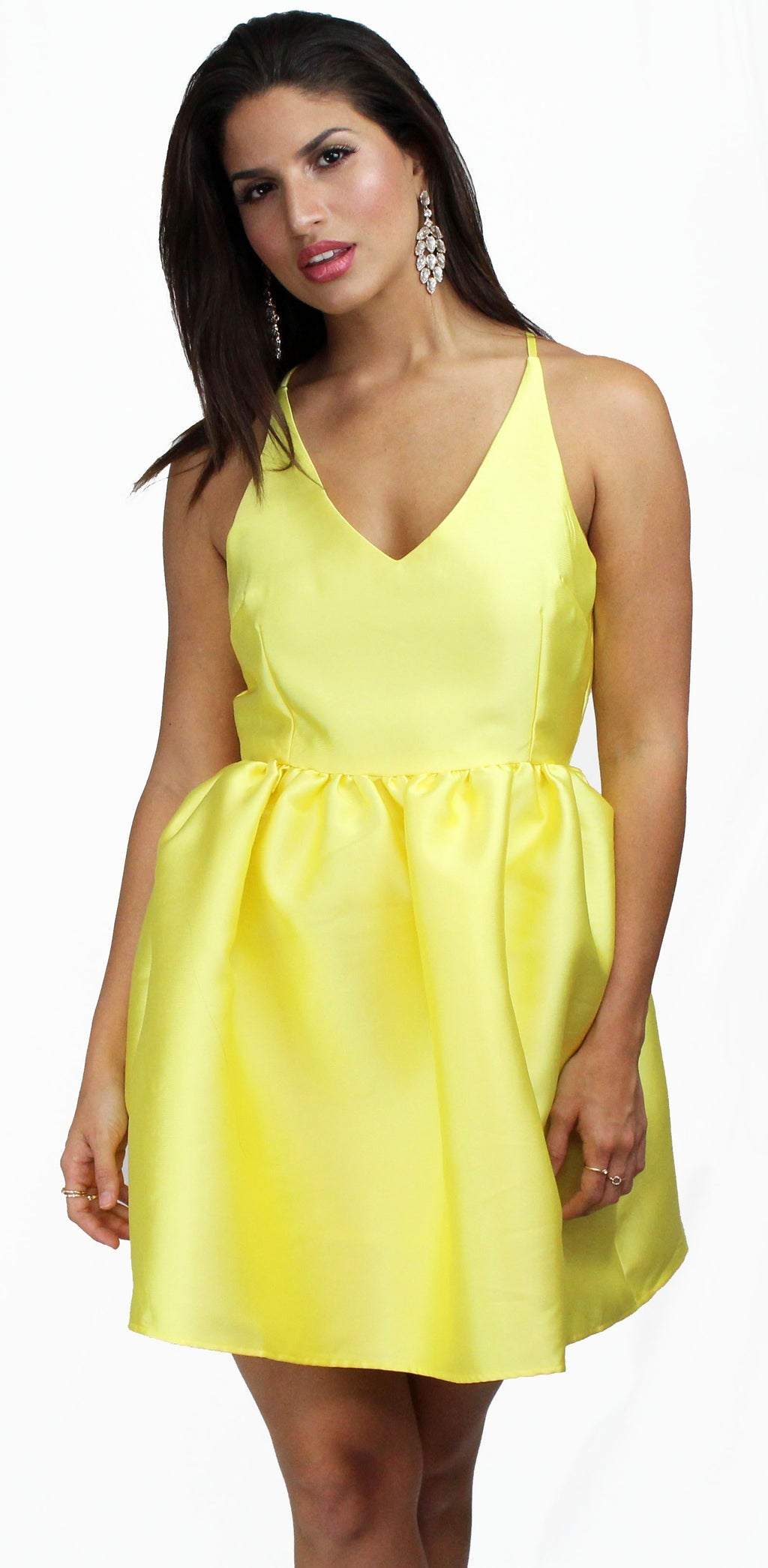 Sunny Days Ahead Yellow Satin Fit & Flare Dress