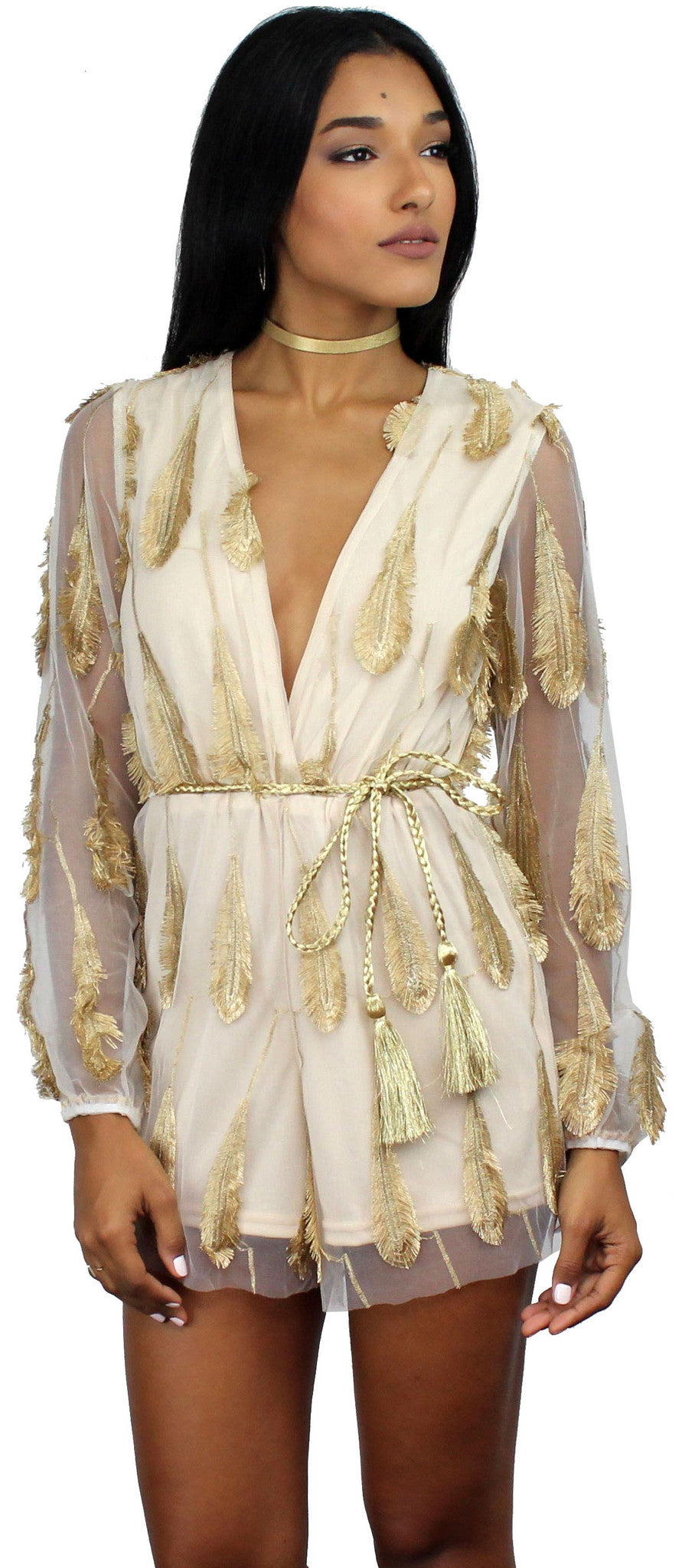 Dream Chaser Gold Feathers Romper