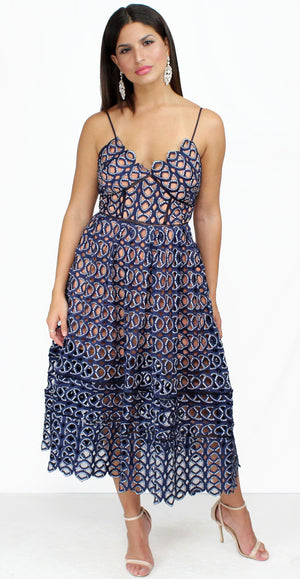 In Love for Ever Navy Crochet Midi Dress
