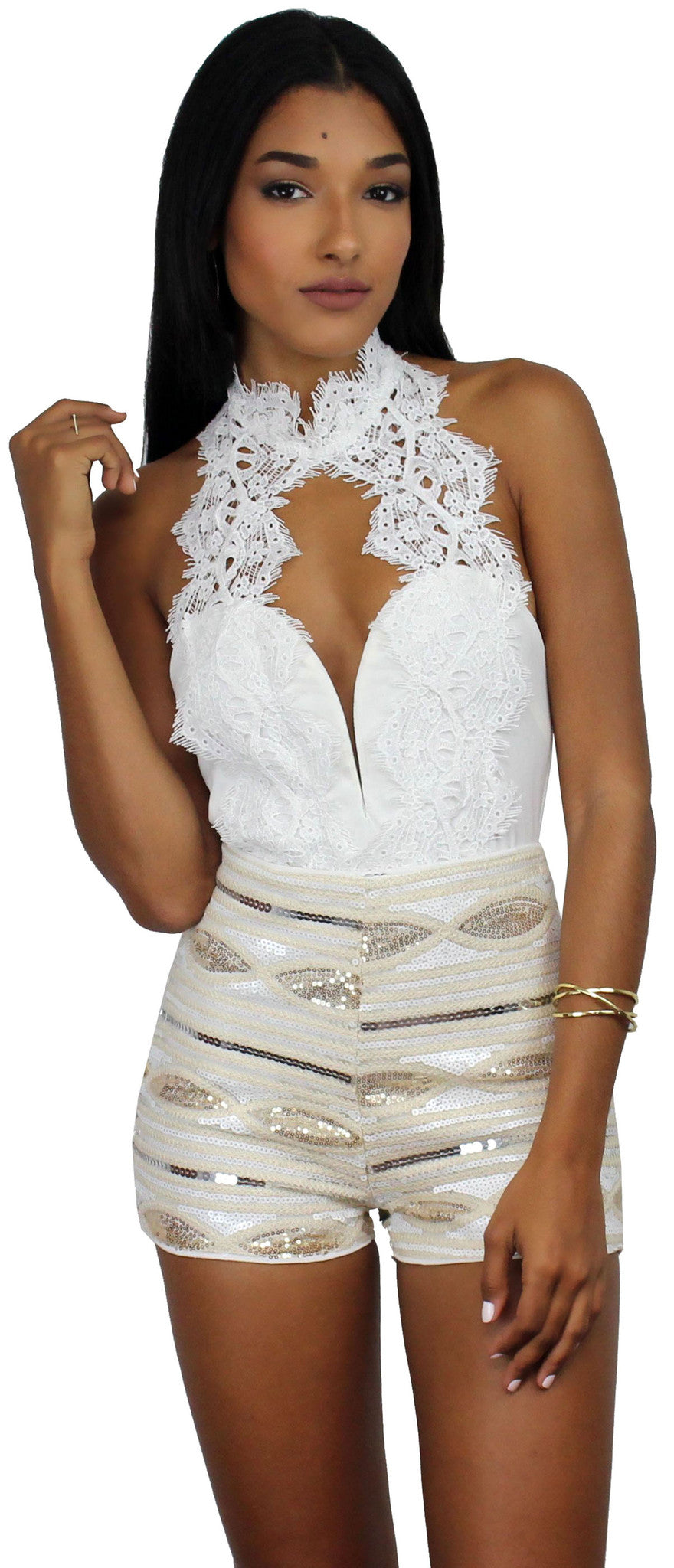 Cause a Commotion White Halter Lace Bodysuit