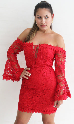 The Moment of Red Off-Shoulder Crochet Dress