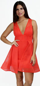 Genevieve Orange Fit & Flare Mesh Dress