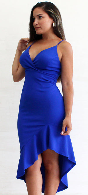Dynamic Girl Blue Ruffle Midi Dress