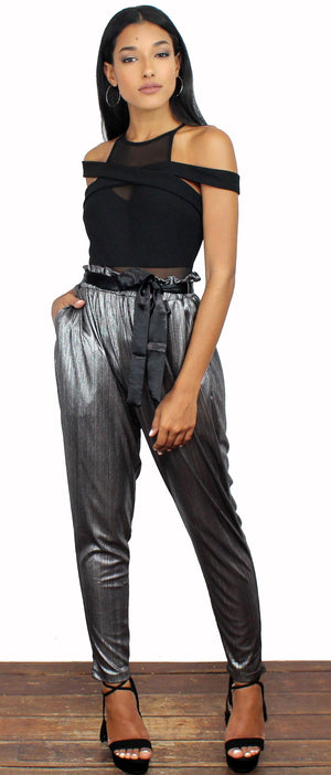 Kick it High Waist Silver Metallic Pants