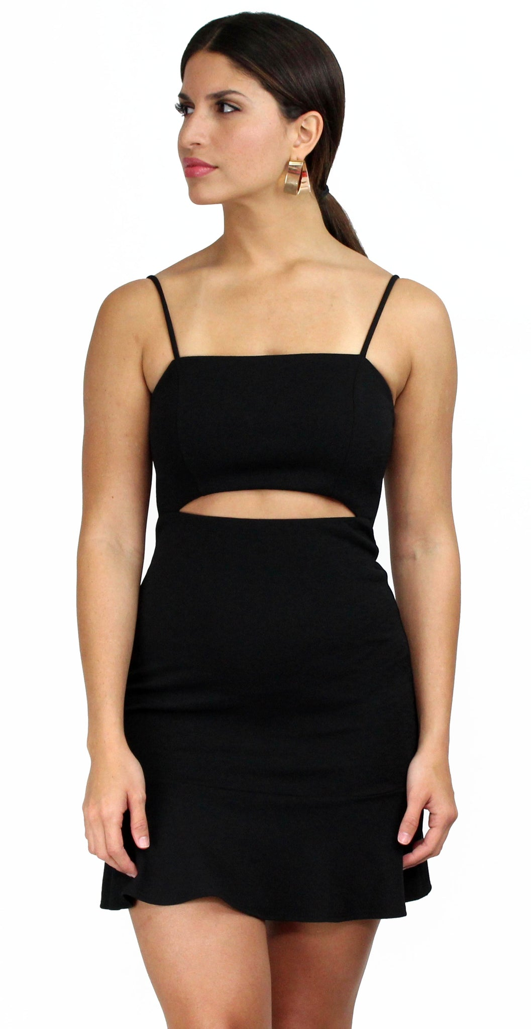 After Hours Black Cutoff Bodycon Dress