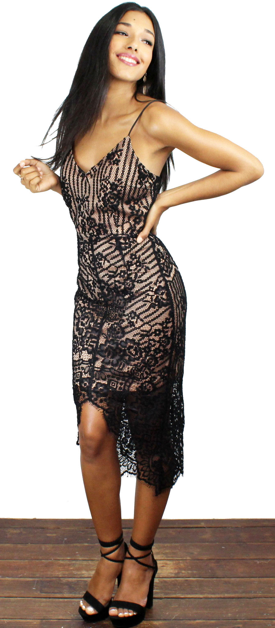 Absolutely Astounding Black Lace Midi Dress
