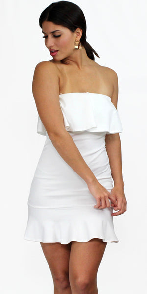 8b6504c16a761 Destined for Chicness White Ruffle Bodycon Dress – Zil boutique