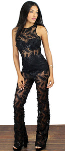 The One & Only Black Feather Jumpsuit