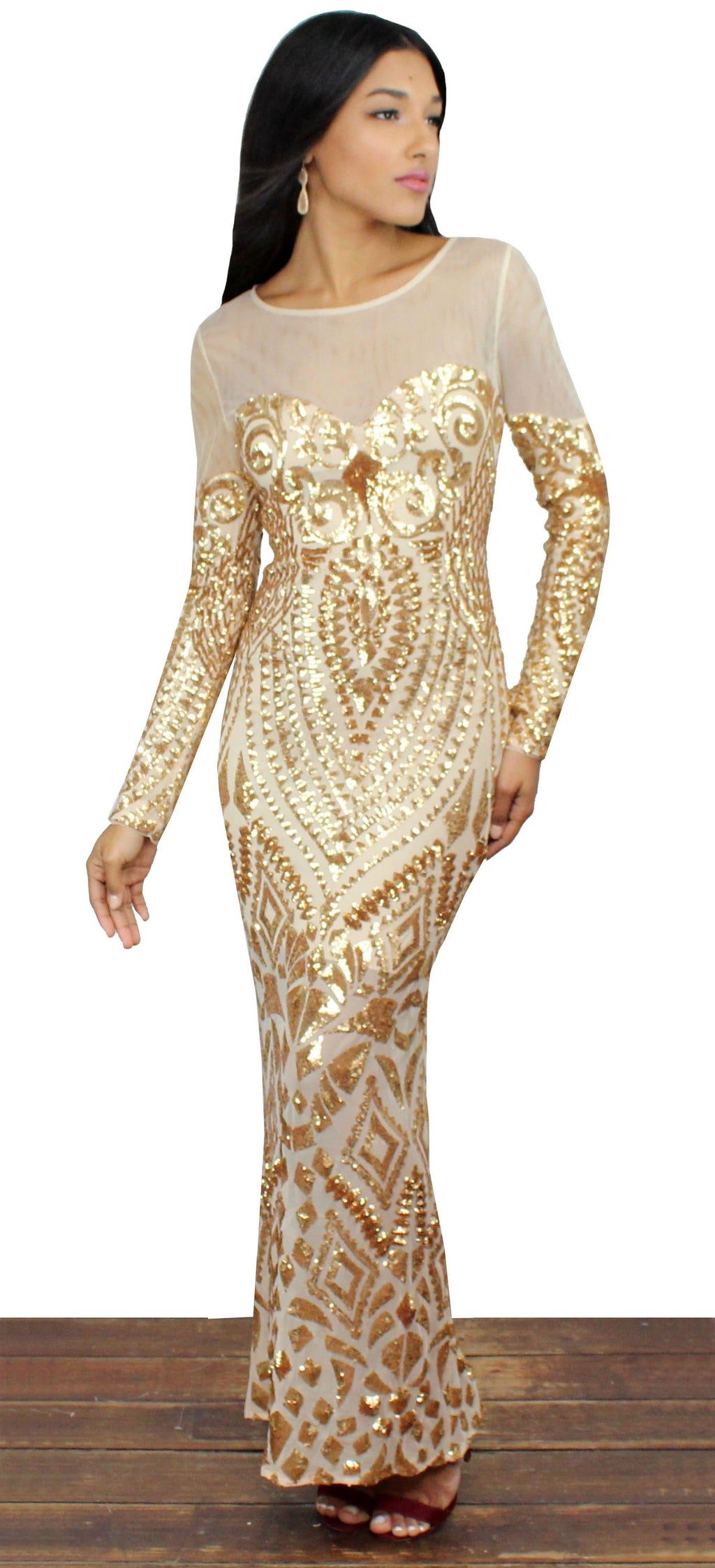 This is the Golden Dress Sequins Midi Dress