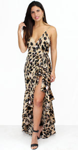 Less is Roar Leopard Print Satin Midi Dress