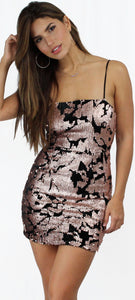 Force of Fashion Rose Gold Sequins Mini Dress