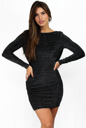 Perfect Black Shimmer Backless Dress