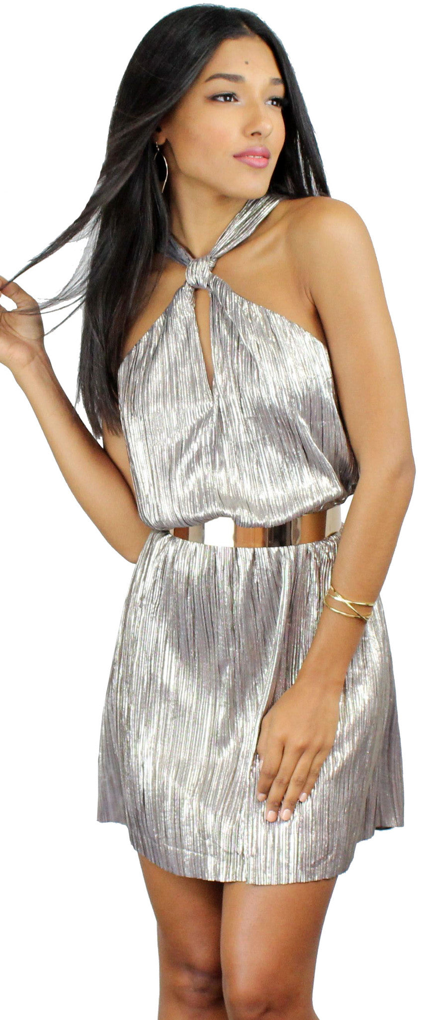 Celebration Metallic Grey-Gold Shift Dress