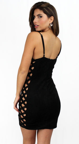 Something 'Bout You Black Suede Bodycon Dress