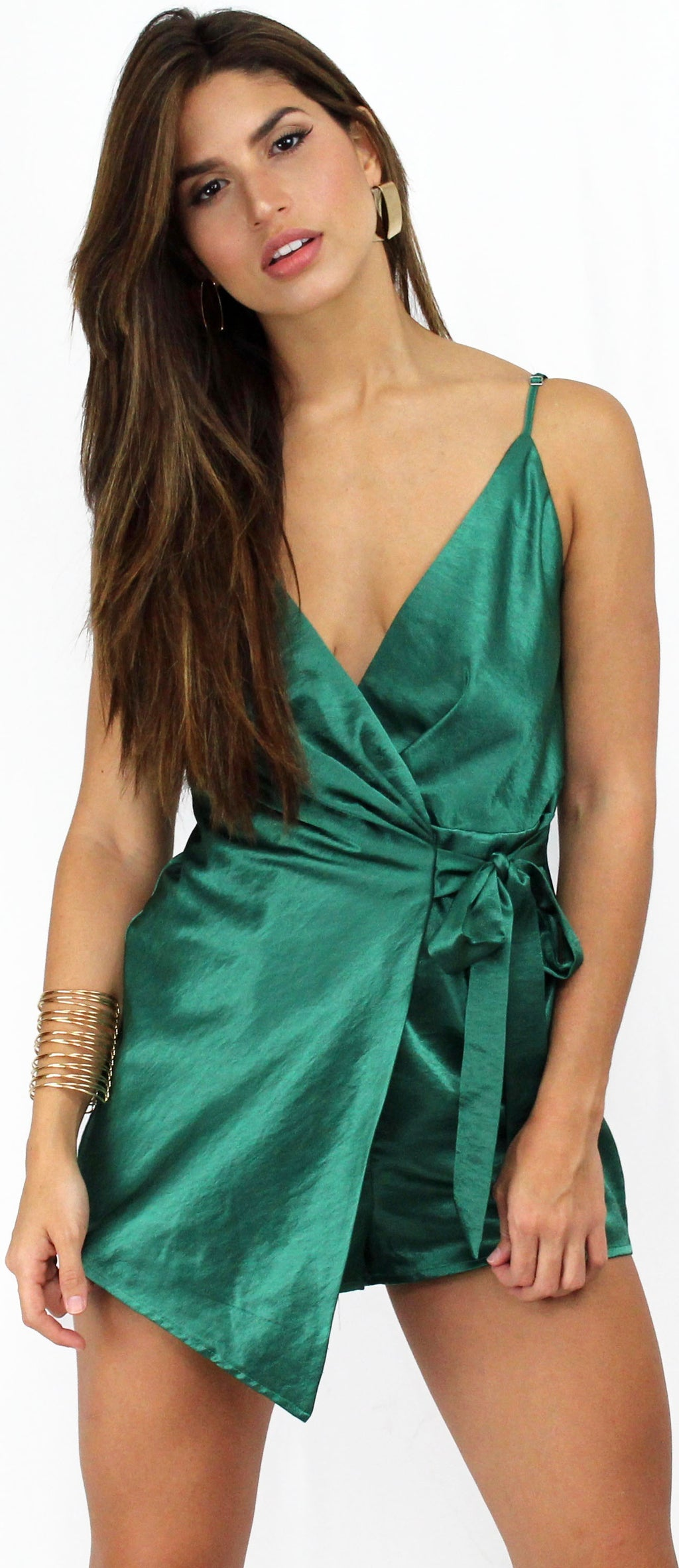 Walk with You Green Satin Romper
