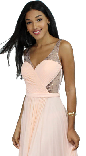 Evening Escape Blush Draped Gown