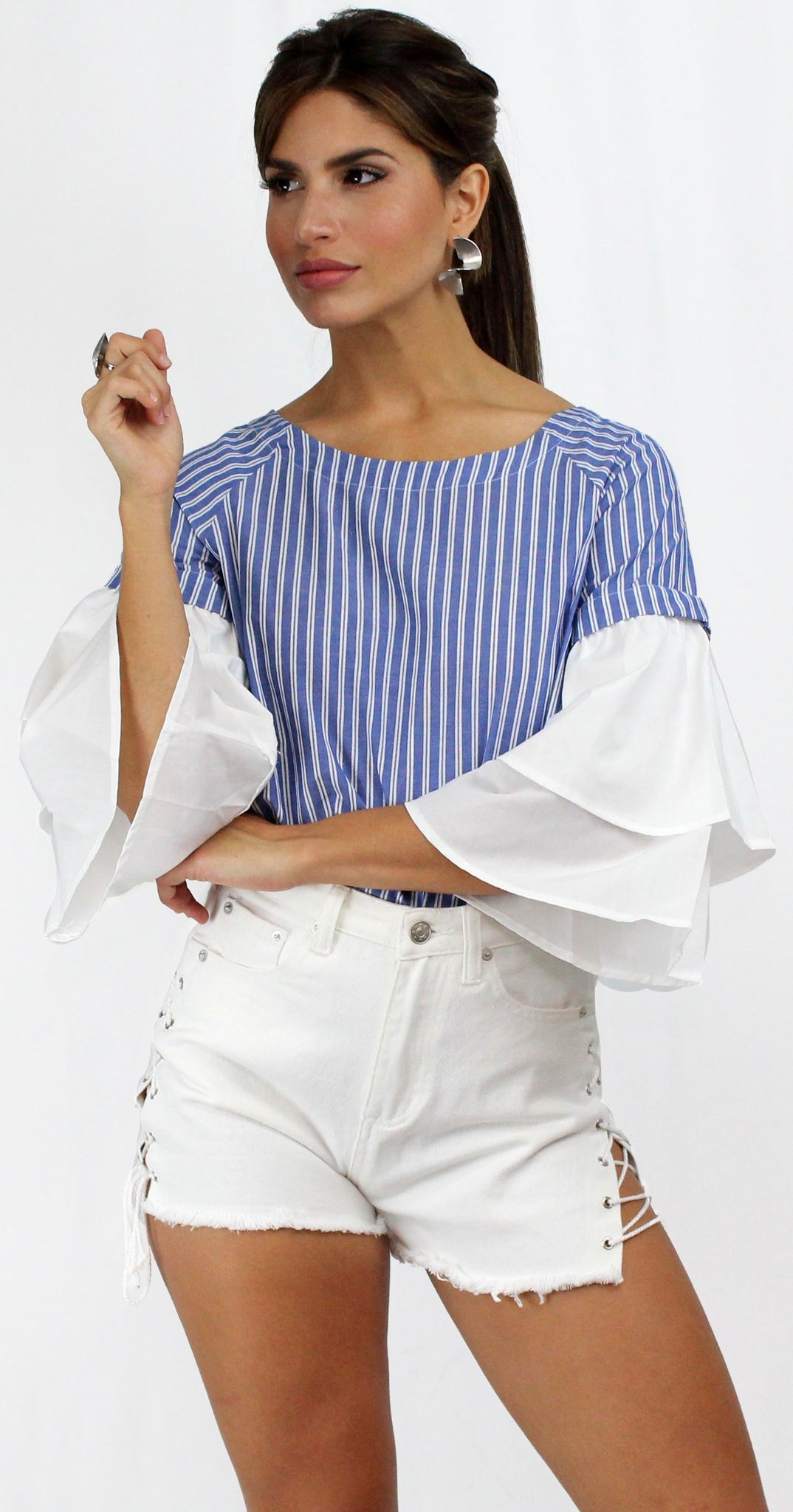 Wearever Stripes Print Ruffles Sleeves Top