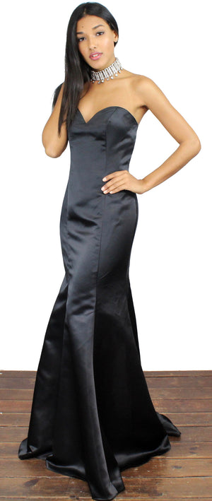 City of Stars Black Mermaid Satin Gown