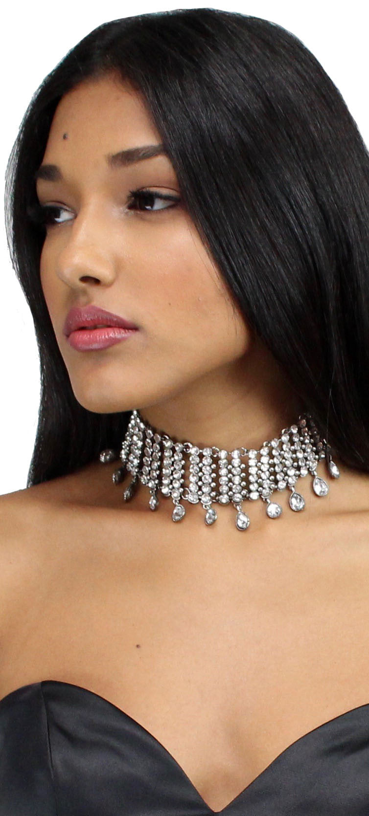 Dream Big Silver Rhinestone Choker Necklace