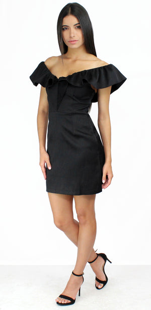 Reach Out with Ruffle Black Mini Dress