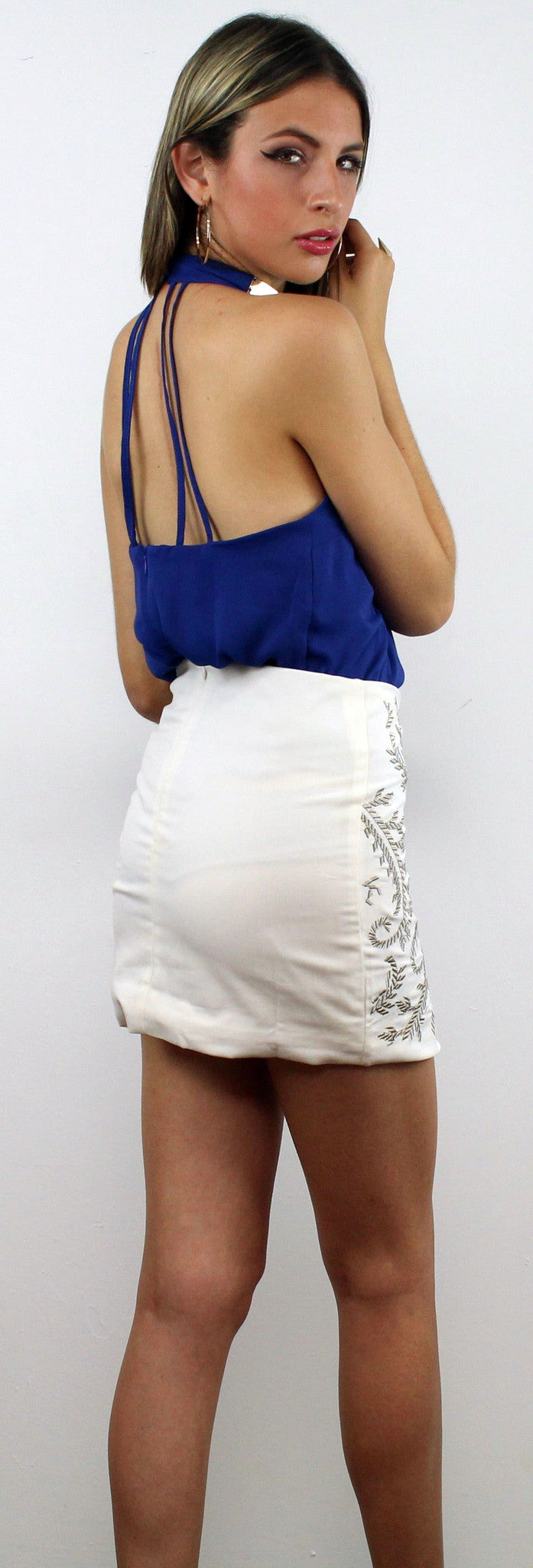 Fast Draw Ivory Embroidery Skirt