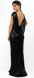 Award Winner Black Sequins Formal Gown