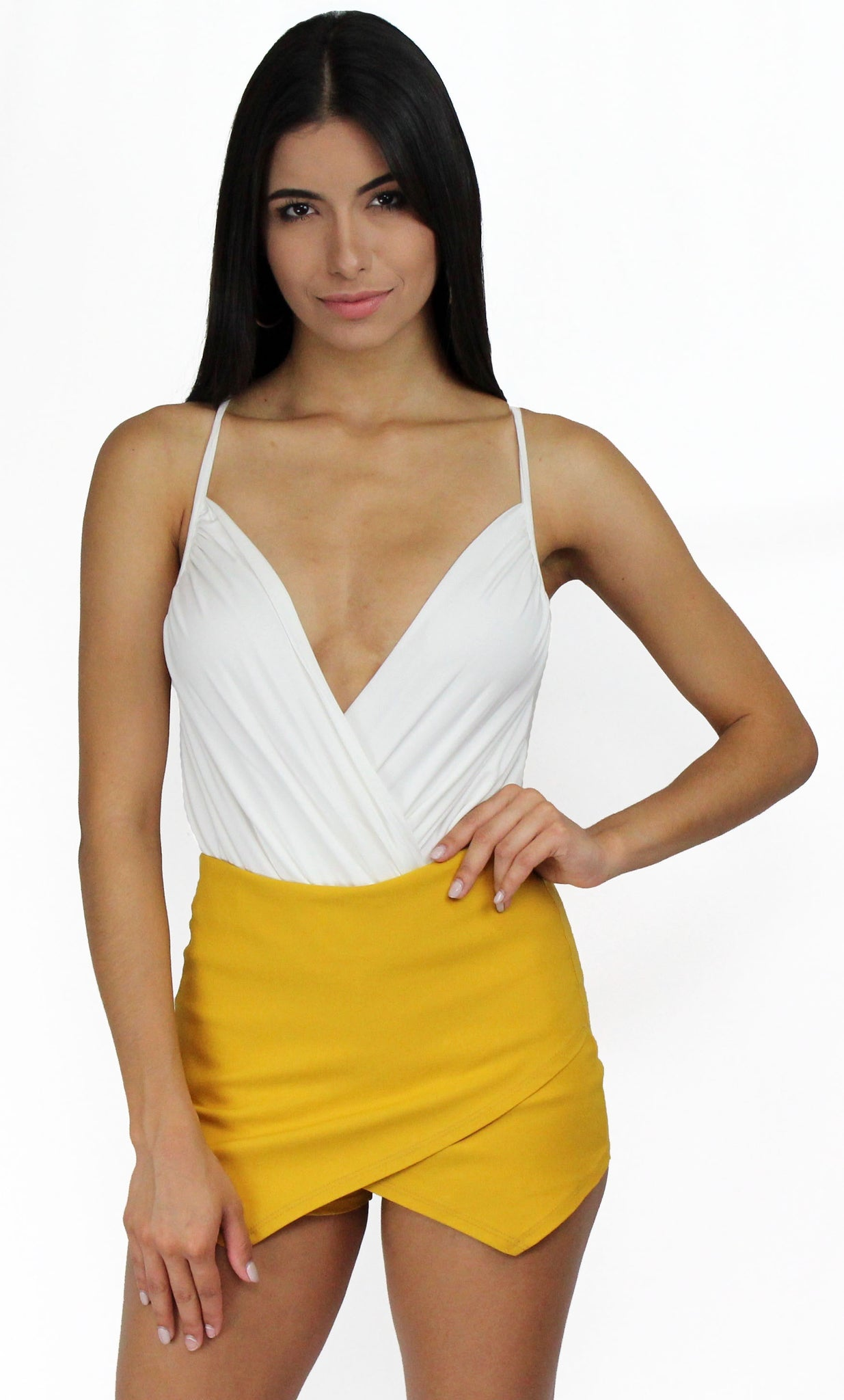 Dedicate V-Neck Knit White Bodysuit