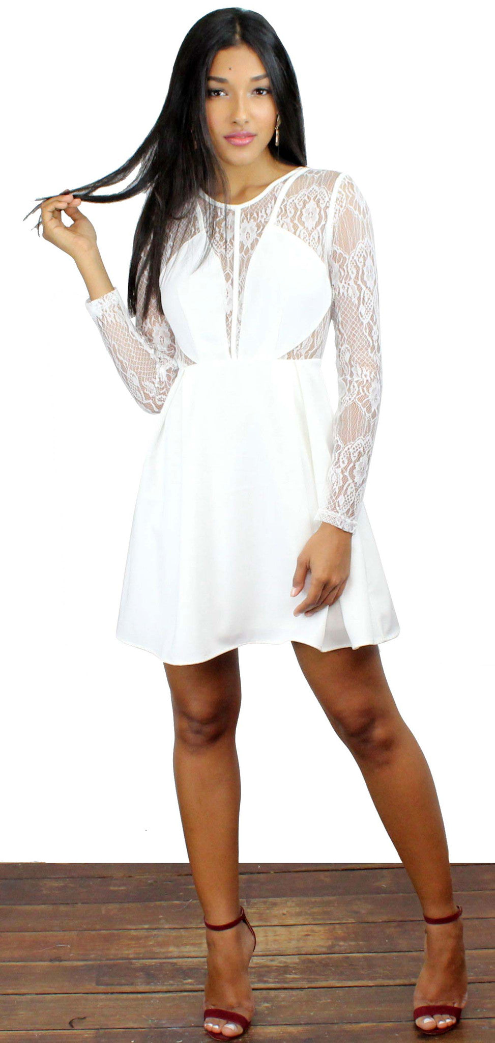 Very Enticing White Long Sleeves Dress