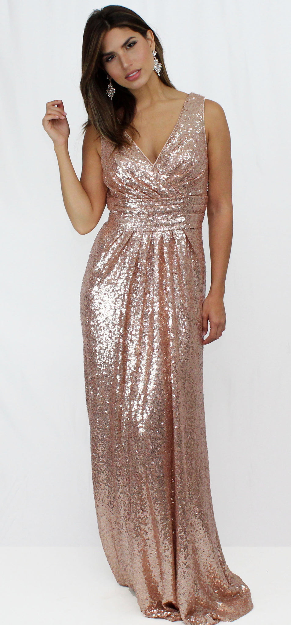 Spotlight Stunner RoseGold Sequins Formal Gown