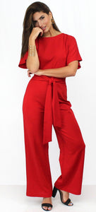 Fine Red Tie-Front Short Sleeves Jumpsuit