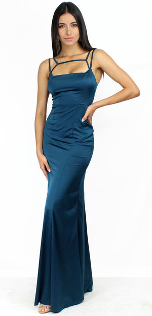 Tricks of the Trade Satin Teal Formal Dress