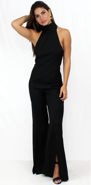 Stunna Black Halter Backless Jumpsuit