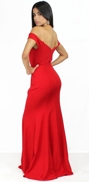 Like a Lady Red Off Shoulder Formal Gown