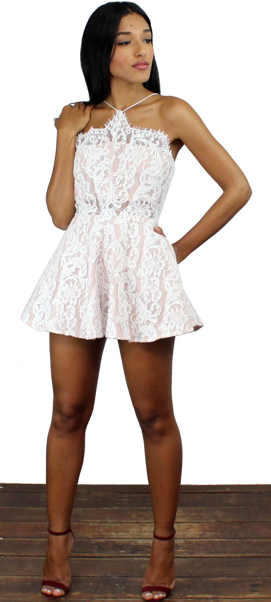 Enticing Endeavors White Lace Romper
