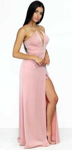 Lovely as Always Shimmer Dusty Rose Formal Gown
