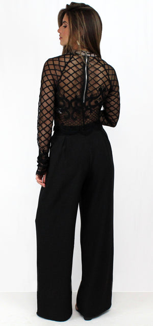 Out Tonight Black Lace Two-Piece Set