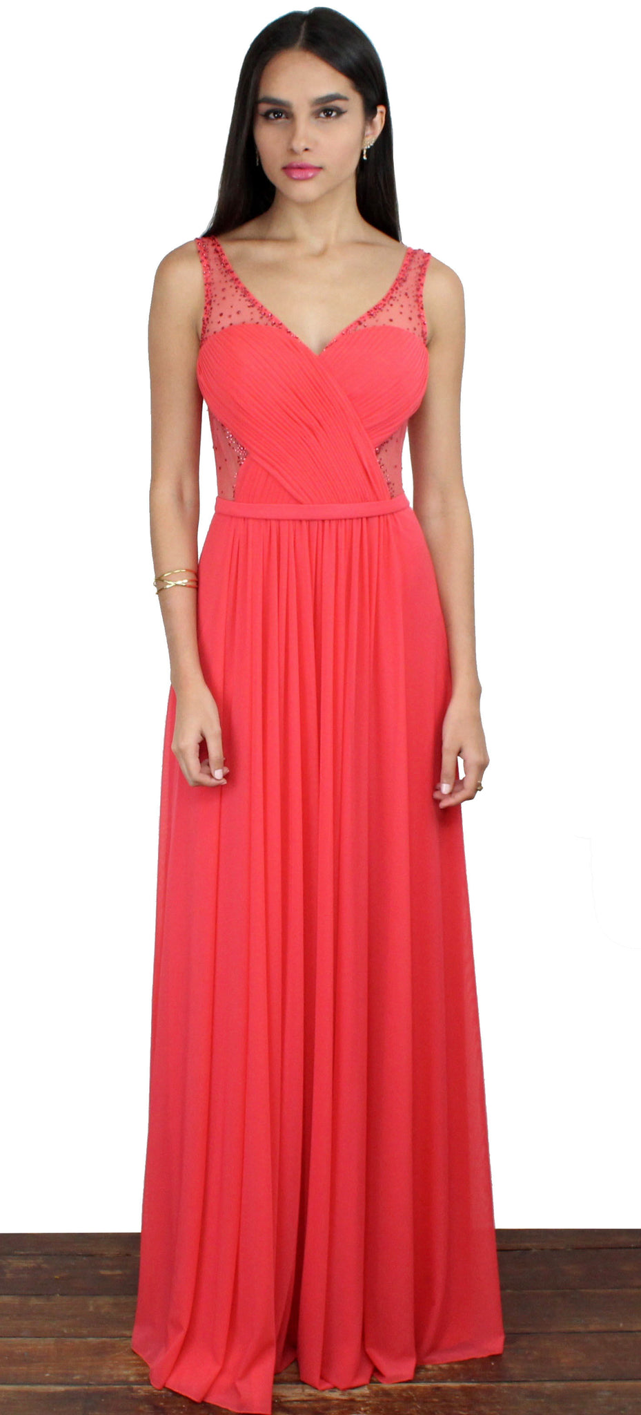 Evening Escape Coral Draped Gown