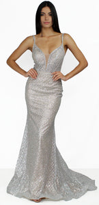 Romanticism Silver Glitter Formal Gown