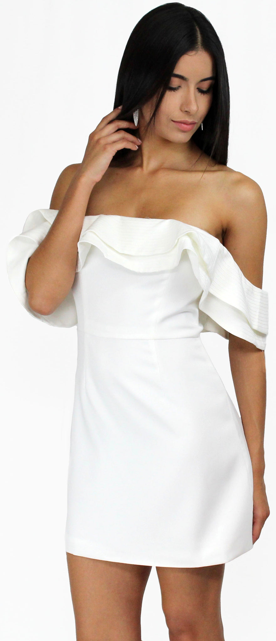 Season of Fun White Off-Shoulder Dress